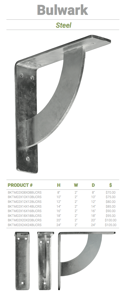 2 W X 12 D X 12 H Bulwark Bracket Steel Permalifeinc