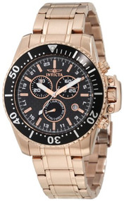 Invicta Men's 11289 Pro Diver Chronograph Black Carbon Fiber Dial 18k Rose Go...