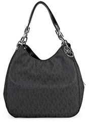 Michael Kors Fulton Large Leather Shoulder Bag Tote ( Black Signature) 30H4SFTL3B-001