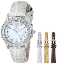 Invicta Women's 11782 Wildflower Mother-Of-Pearl Dial Silver Tone Leather Wat...