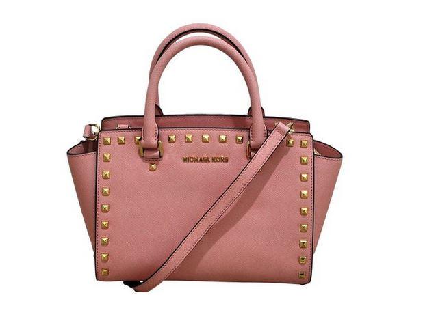 206efe0ed6dd77 ... Michael Kors - Selma Stud Saffiano Leather Medium Top Zip Satchel -  Pale Pink 30T3GSMS2L-656. Image 1
