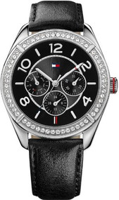 Tommy Hilfiger Women's 1781248 Sport Stainless Steel Black Leather Multi-Function Watch
