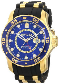 Invicta Men's 6993 Pro Diver Collection GMT Blue Dial Black Polyurethane Watc...