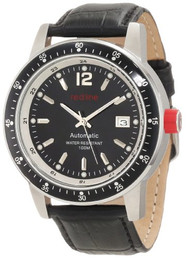 red line Men's RL-50013-11-BK Meter Automatic Black Dial Black Leather Watch ...