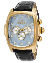 Invicta Men's 'Lupah' Quartz Stainless Steel and Leather Casual Watch, Color:Black (Model: 21919)