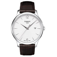 Tissot T Classic Tradition Silver Dial Brown Leather Mens Watch T063610160370...