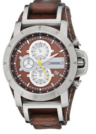 Fossil Men's JR1157 Brown Leather Strap Brown Analog Dial Chronograph Watch