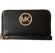 Michael Kors Fulton Black Gold Large Flat MF Phone Case Leather 32H5GFTE4L NEW 32H5GFTE4L-001