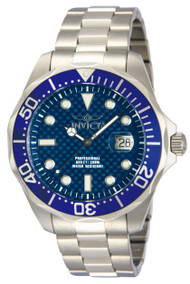 Invicta Men's 12563 Pro Diver Blue Carbon Fiber Dial Stainless Steel Watch …