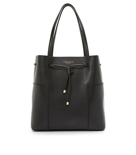 965c3cd13a8 ... Tory Burch Block-T Drawsting Leather Tote- Black 1169642-001. Image 1
