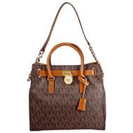 Michael Kors Large Hamilton Women's Handbag Tote Shoulder Bag Brown 30T2GHMT3B-200