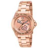 Invicta 14734 Women's Angel Rose Gold Dial Rose Gold Steel Bracelet Dive Watch