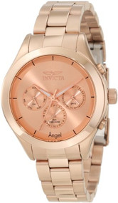 Invicta Women's 12467 Angel Rose Dial Rose Gold Ion-Plated Stainless Steel Wa...