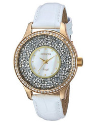 Invicta Women's 'Angel' Quartz Stainless Steel and Leather Casual Watch, Color:White (Model: 24589) …
