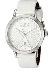 Invicta Women's 'Angel' Quartz Stainless Steel and Leather Dress Watch, Color:White (Model: 23182) …