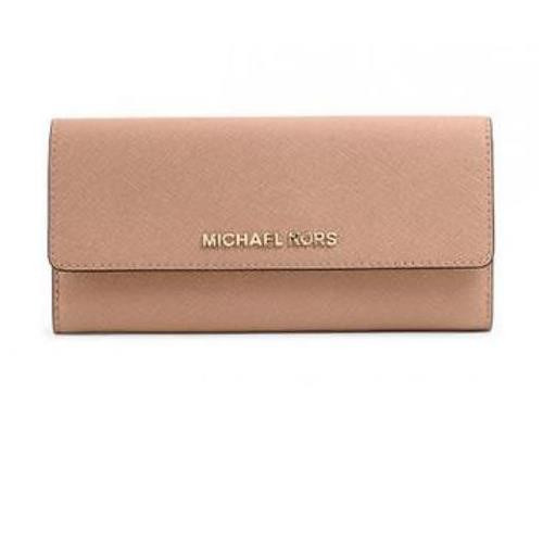 402caac50a29 ... Michael Kors Women's Jet Set OYSTER Leather Travel Large Gusset  Carry-all Wallet. Image 1