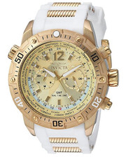 Invicta Men's 'Aviator' Quartz Stainless Steel and Silicone Casual Watch, Color:White (Model: 24581) …