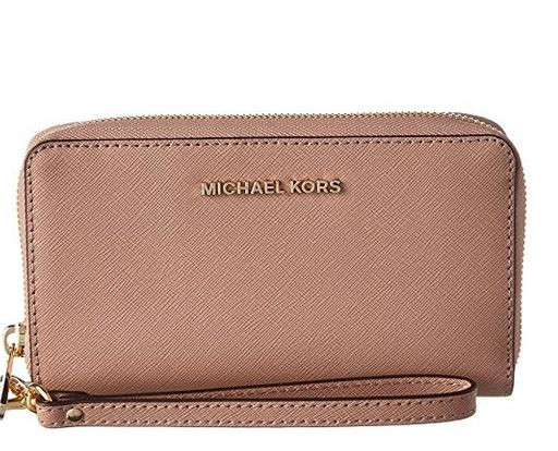 aedd6580f9bffc ... Michael Kors Womens Jet Set Travel Large Leather Smartphone Wristlet  32H4GTVE9L-133. Image 1