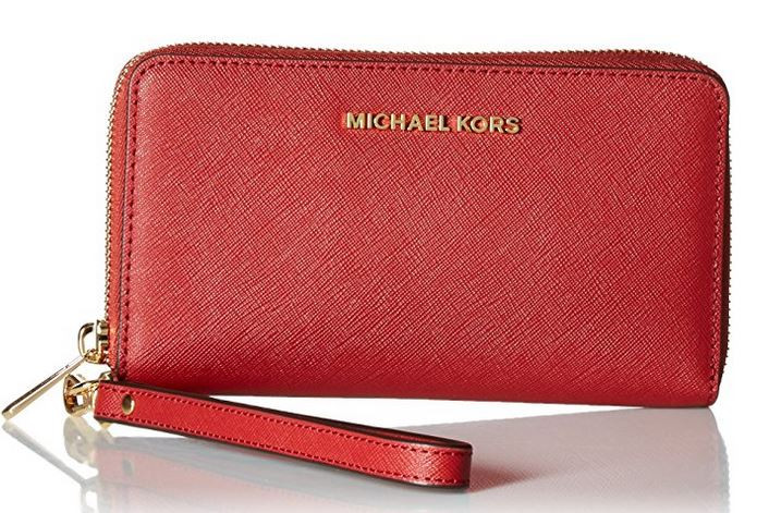 70745fe33a47 ... Michael Kors Jet Set Travel Large Smartphone Wristlet - Burnt Red  32H4GTVE9L-361. Image 1