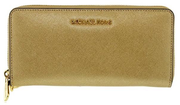 d0e81627fdda ... Michael Kors Women's Jet Set Travel Continental Saffiano Wristlet  Leather Wallet Baguette - Pale Gold 32S5MTVE9M-740. Image 1