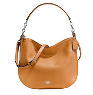 COACH Women's Polished Pebbled Leather Chelsea 32 Hobo Sv/Light Saddle Handbag 58036-SV/QD
