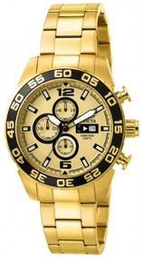 Invicta Men's 1016 II Collection Chronograph Gold Dial 18k Gold-Plated Stainl...