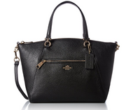 COACH Women's Pebbled Prairie Satchel LI/Black Handbag 58874-LIBLK