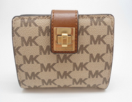 Michael Kors Natalie Coated Canvas Medium Bifold Wallet (Natural and Luggage)  32F6ANEE2V-969