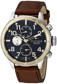 Tommy Hilfiger Men's 1791137 Cool Sport Two-Tone Stainless Steel Watch with Faux-Leather Band
