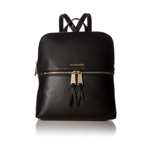 c060a0e9175a ... Michael Kors Rhea Zip Medium Slim Backpack in Black 30H6GEZB2L-001.  Image 1