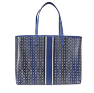 d0efa57d54cf Tory Burch Gemini Link Canvas Tote Handbag in Jewel Blue Gemini Link Stripe