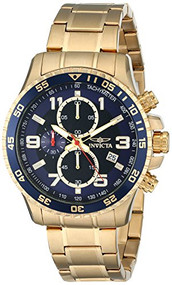 Invicta Men's 14878 Specialty Chronograph Dark Blue Textured Dial Gold Ion-Pl...