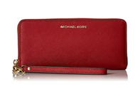 Michael Kors Jet Set Travel Leather Continental Wallet- Burnt Red …  32S5GTVE9L-361