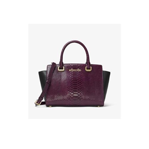 4796d0a529140 ... Michael Kors Selma Embossed Leather Satchel Handbag Damson Black  30F7GLMS2E-BLK DM. Image 1