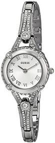 GUESS Women's U0135L1 Petite Crystal Accented Silver Tone Watch
