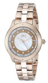 Invicta Women's 21406 Wildflower Quartz 3 Hand White, Rose Gold Dial Watch