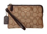 COACH Women's Box Program Signature Jacquard Small Wristlet Li/Khaki/Brown One Size …  16113B-LIC7C
