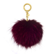 MICHAEL KORS LARGE DYED FOX FUR POM POM KEY CHAIN 32F6GKCK3F Cranberry …
