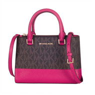 Michael Kors Signature PVC & Leather Kellen XS Satchel Bag 35H7GSOS0B-BRNLP