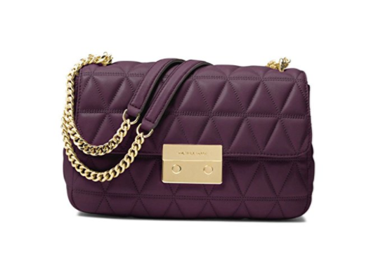 9a0146e24419d ... MICHAEL Michael Kors Sloan Large Quilted-Leather Shoulder Bag in Damson  30S7GSLL3L-599. Image 1