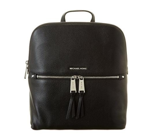 0c0f9080fc90d6 ... MICHAEL Michael Kors Rhea Zip Medium Slim Backpack (Black/Silver)  30H6SEZB2L-001. Image 1