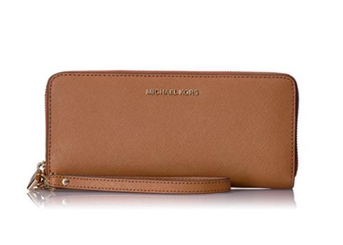 223b000ea188 ... Michael Kors Women's Jet Set Travel Leather Continental Wallet Wristlet  - Acorn 32S5GTVE9L-532. Image 1