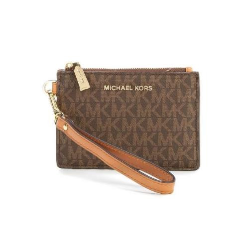 3635c31e87ff ... Michael Kors 32T7GM9P1V-200 Mercer Logo Coin Purse - Brown  32T7GM9P1V-200. Image 1