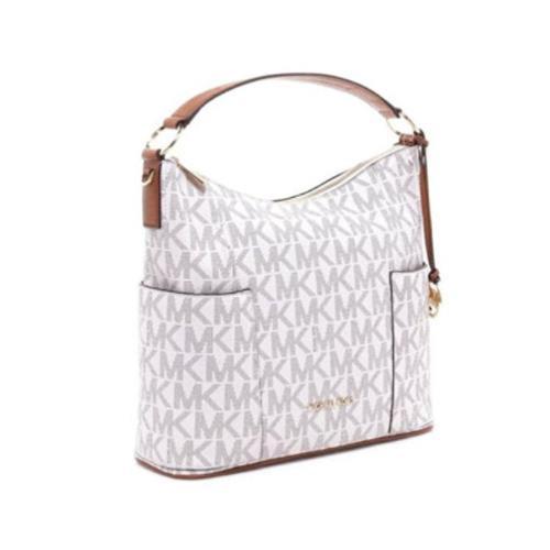 30961fe7c16a72 ... Michael Kors Anita Signature Medium Convertible Handbag Vanilla/Acorn  35H7GA8L7B-149. Image 1