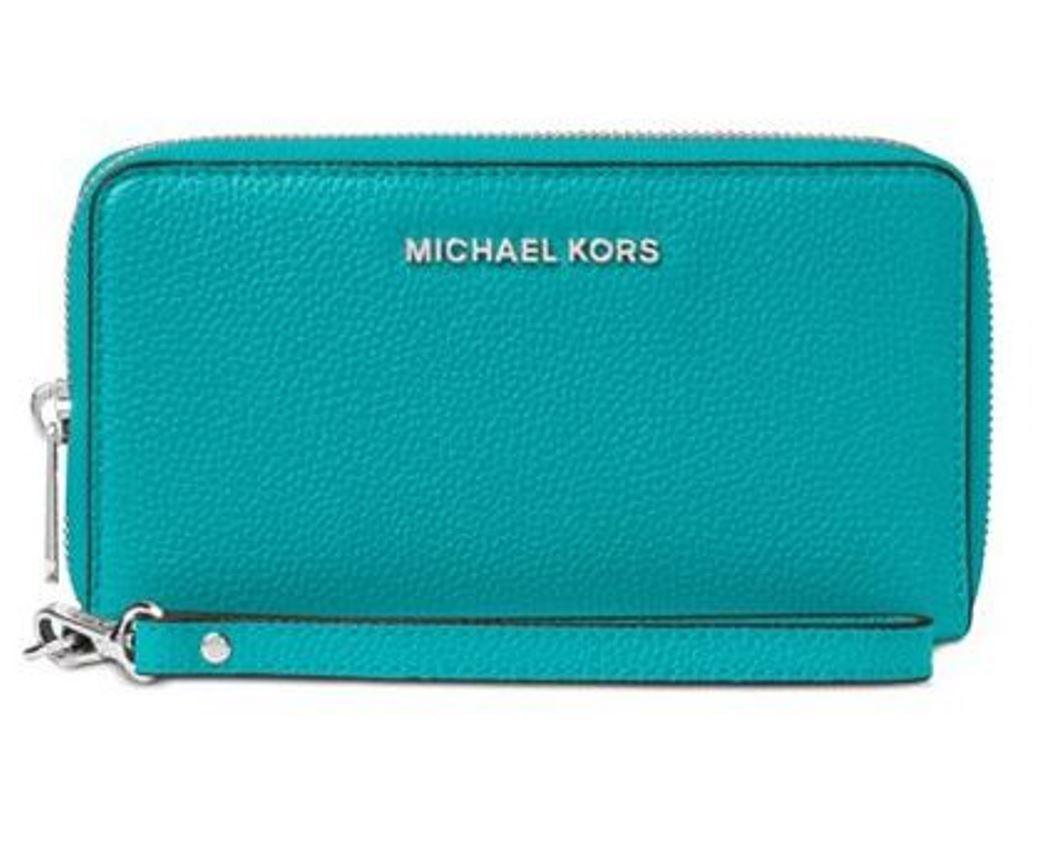 1eb60ecf6e9d ... Michael Michael Kors Mercer Large Flat Multi Function Phone Case ‑ Tile  Blue 32F6SM9E3L-439. Image 1