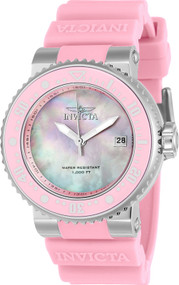Invicta Lady 22669 Pro Diver Quartz 3 Hand Pink Dial Watch