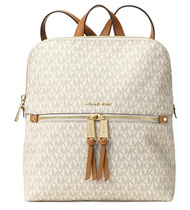 MICHAEL Michael Kors Rhea Medium Slim Backpack (Signature Vanilla)