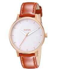 Nixon Kensington Rose Gold/White Women's Watch (37mm. Rose Gold & White Face/ Leather Band) …