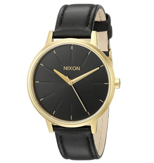 48a47596f ... Nixon Women's A108513 Kensington Gold-Tone Stainless Steel Watch with Leather  Band … Image 1