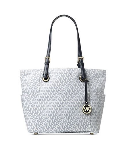2f7b9ecef6b125 ... Michael Kors Women's Jet Set Travel Small Logo Tote Bag (Optic White/Navy)  30H6GTTT3V-130. Image 1